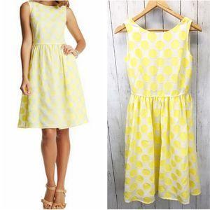 LOFT Yellow Dot Sleeveless Dress Sz 6
